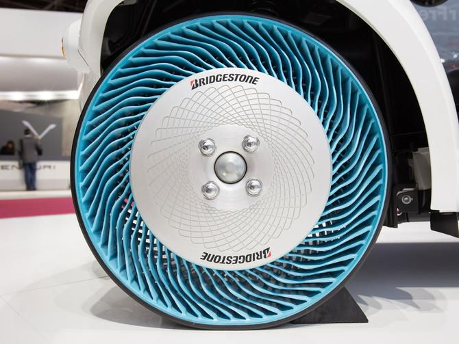 Bringing new meaning to the term flat tire, the Japanese company shows a second-generation prototype of its airless tires at the Paris Motor Show.