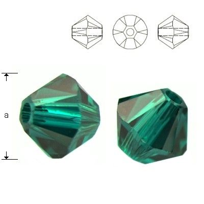 5328 Bicone 4mm Emerald 10 pieces  Dimensions: 4,0mm Colour: Emerald 1 package = 10 pieces