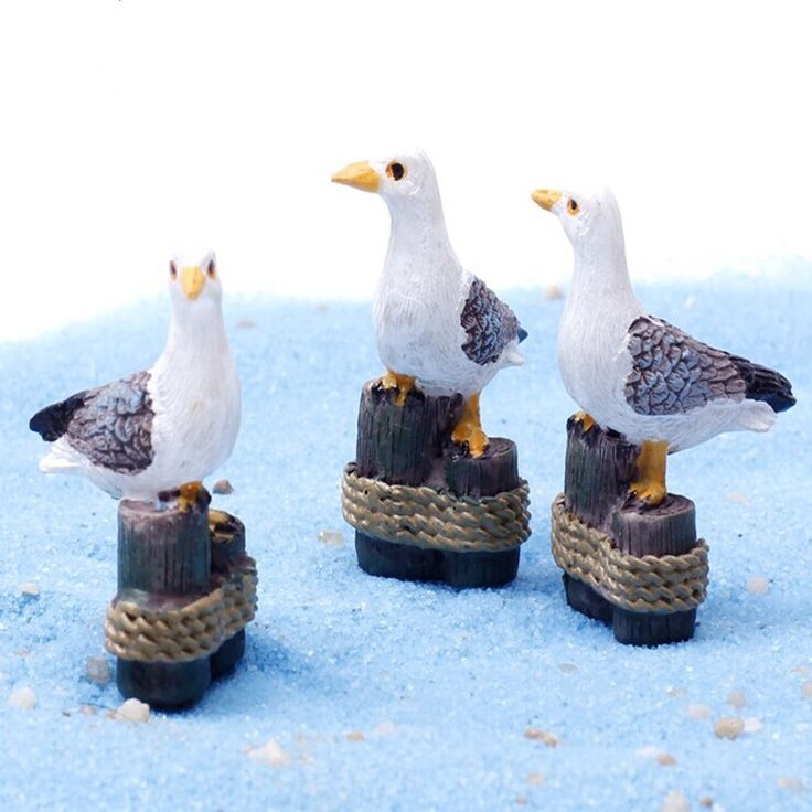 Miniature Stump Seagull Craft DIY Decor Ornament Pot Plant Home Garden Sea Mew N