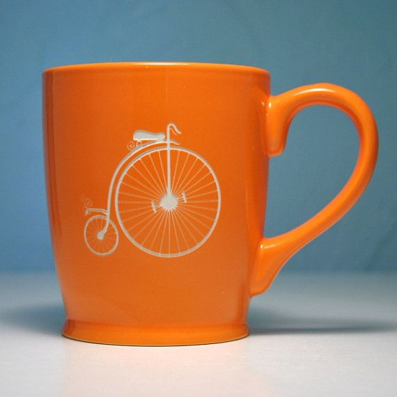 Penny Farthing Bike Mug, (BreadandBadger on etsy.com), Penny for your thoughts. . . No just a penny farthing for coffee. . .