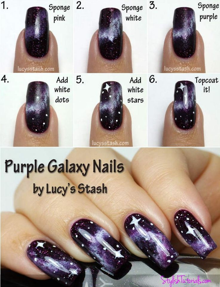 Galaxy Nails Step by Step - Makeup, Hairstyle and Nail design tutorials