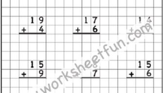 Addition -  1 digit number to a 2 digit number with regrouping - Three Worksheets