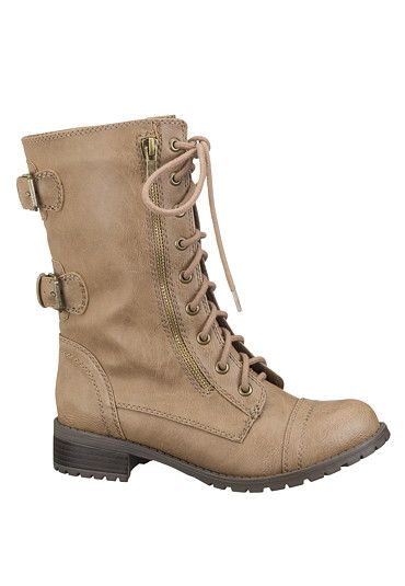 Lace up Double Buckle Combat Boot (original price, $44) available at #Maurices