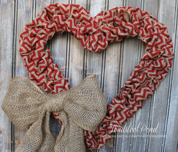 This hearty burlap wreath is perfect for any decor, dressed for the season in a lovely heart shape. Other bow choices are available or order plain.