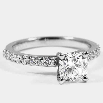 Platinum Petite Shared Prong Diamond Ring // Set with a 0.90 Carat, Cushion, Ver…