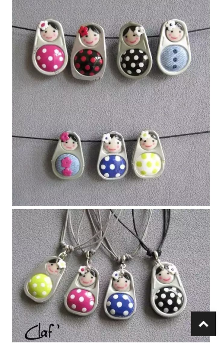 Make figures with polymer clay rings and cans Adornos