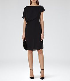 Womens Black Draped Dress - Reiss Yen