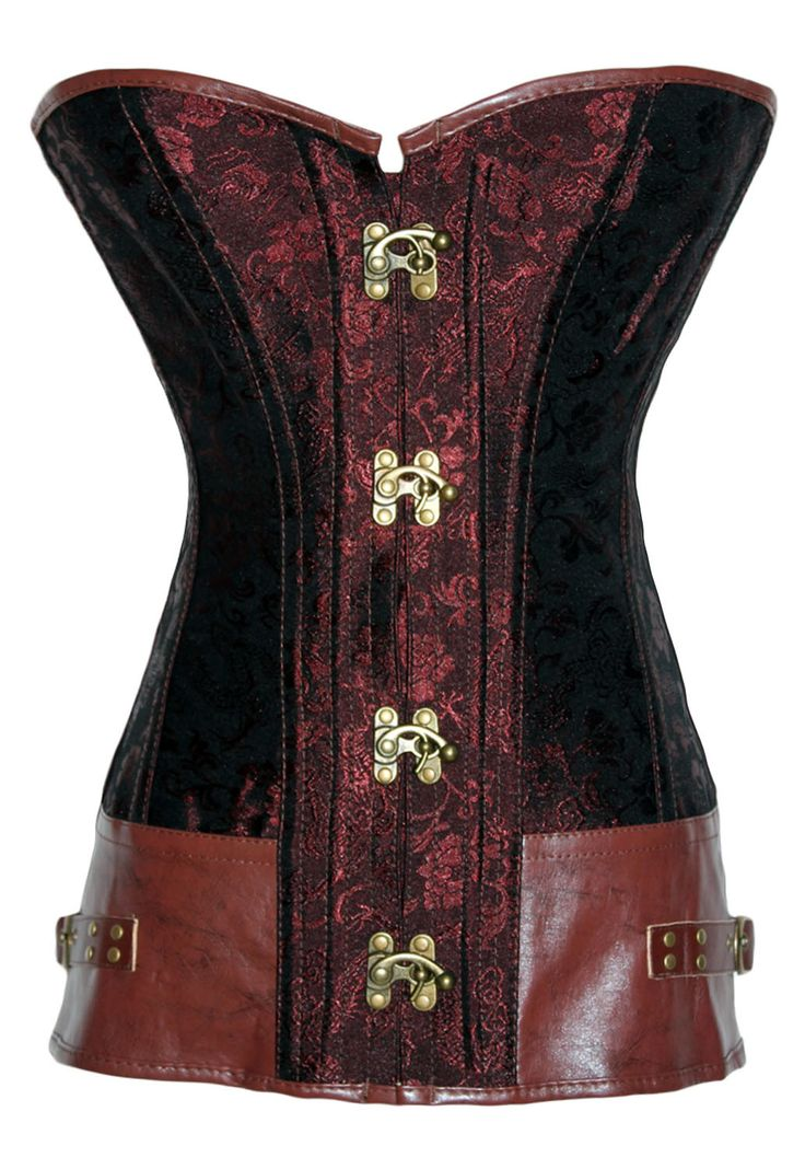 Brown Brocade Steampunk Corset with Clasp Fasteners