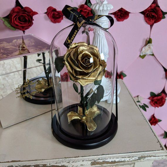 Real Rose Gold Rose Gold Rose In Glass Dome Enchanted Rose