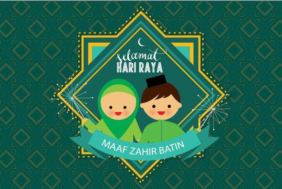 hari raya greeting vector by lyeyee on Creative Market
