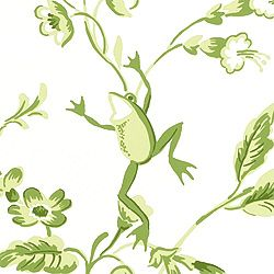 HAPPY FROGS, Green on White, T6116, Collection Sweet Life from Thibaut