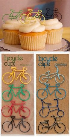 BIKE CLIPS (Happy Bicycle Store) Wonderful use, in party cakes with the bicycle theme
