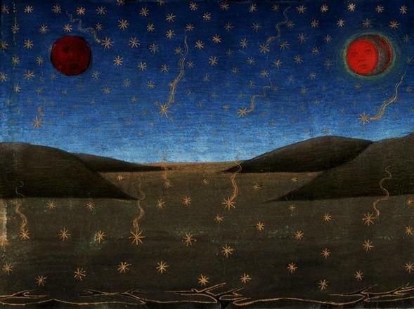 """Morte del Sole, della Luna e caduta delle stelle Miniatura/illustrazione da """"Storie di San Gioacchino, di Sant'Anna,…"""", Torino, Biblioteca Reale"""