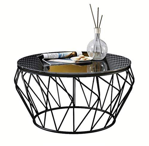 Dyfymxside Table Iron Glass Coffee Table Living Room Balcony