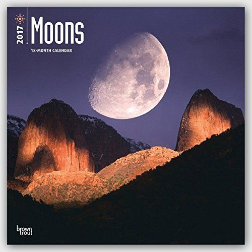 Moons 2017 Square  Features 12 full-color images of the moon above various landscapes  Includes planner pages (July-December 2016)  Ample space for notes, important dates, and contacts  Previous and next month views  Observes major holidays and moon phases