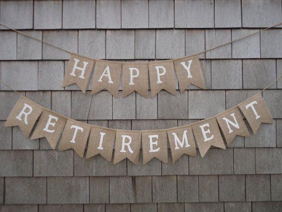 Retirement Party Decor, Retirement Banner, Retirement Burlap Bunting, Happy Retirement Garland, Custom Retirement Sign, Office Work Party