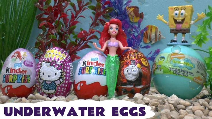 Disney Princess Mermaid Kinder Surprise Eggs Thomas and Friends Barbie S... Surprise Eggs but underwater. The eggs are all on the seabed and brought to the surface by Ariel with a little help from Spongebob. Eggs are Spongebob, Thomas and Friends, Disney Princess, Barbie and Hello Kitty. #disney #disneyprincess #hellokitty #thomasandfriends #barbie #spongebob #surpriseeggs #surprisetoys #thomas