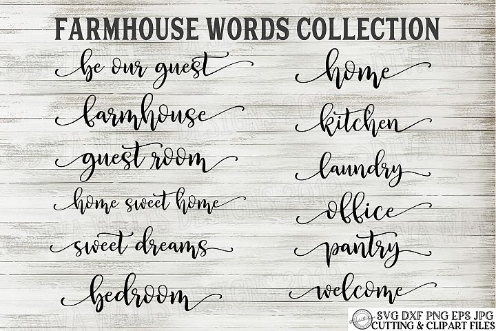 Farmhouse Words Bundle Set of 12 Bouncy Words with Tails