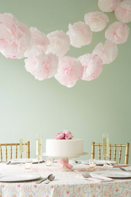 DIY paper pompom garlands from Handmade Weddings, by @Eunice & Sabrina  Moyle of Hello!Lucky.