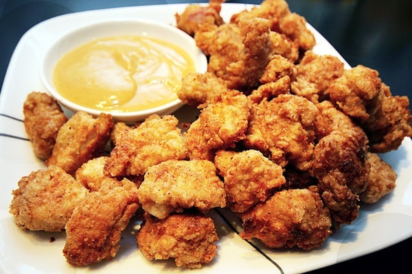 YUMMY! Chicken Nugget Bites with Honey Mustard BBQ Special Dipping ...