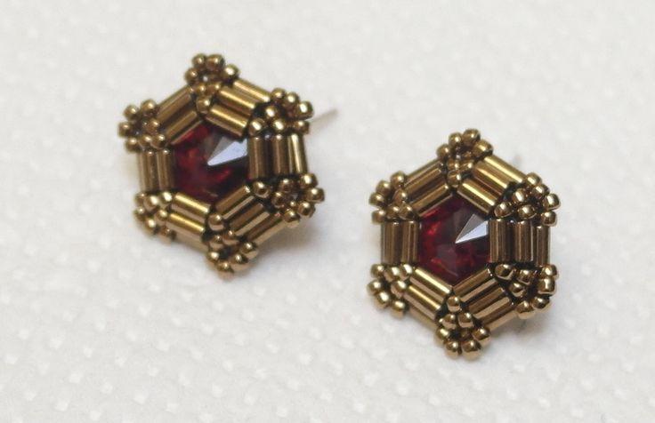 Metallic Bronze Earrings Red Stud Earrings by BetweenBeads on Etsy