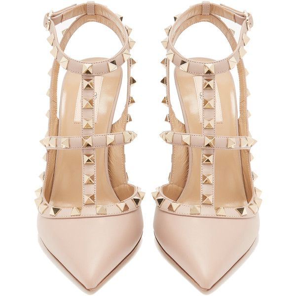 Valentino Rockstud leather pumps ($995) ❤ liked on Polyvore featuring shoes, pumps, leather pumps, t strap pumps, pink shoes, nude shoes and high heel stilettos