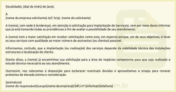 Modelo de Carta Resposta à Solicitação de Prestação de Serviços