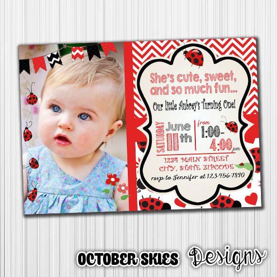 LadyBug Birthday Invitation, Printable, Announcement, Invite, Milestone, Custom,Digital, Pink by OctoberSkiesDesigns on Etsy