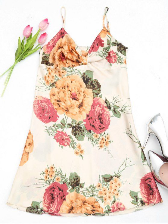 Robe en satin à imprimé floral lustré - Multicouleur TAILLE MOYENNE