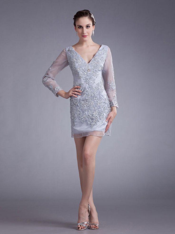 Organza V-neck Mini/Short Appliques Long Sleeves Sheath Party Dress at nextdress.co.uk