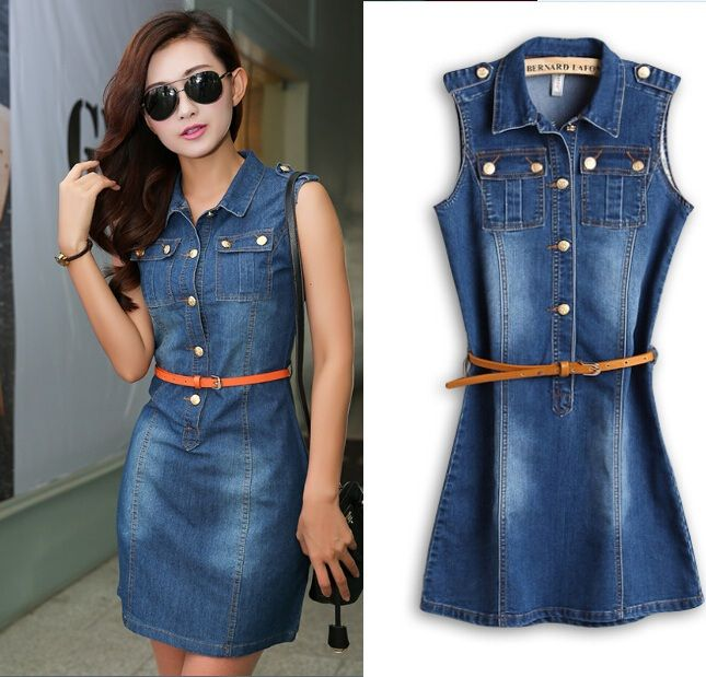 Fashion Trends, Thin Belt Collar Sleeveless Two Top Pockets Sheath Knee Length Denim Dresses: How to Buy the Denim Dresses for Casual Occasions