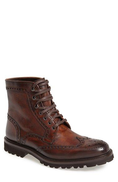 Magnanni Enzo Wingtip Men's Mid-Brown Leather Wingtip Boot with Commando Sole