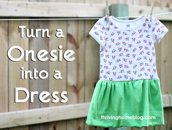 Transform a onesie into a dress. A great idea on how to repurpose those onesies that are too small!