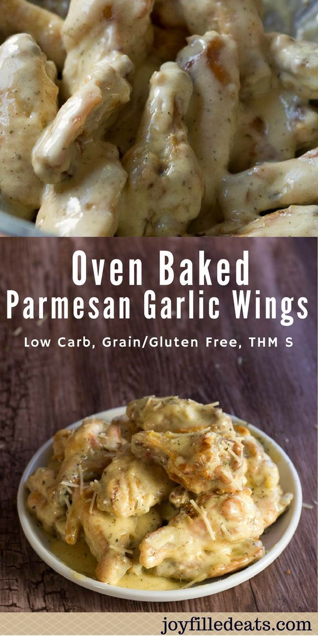 These Oven Baked Parmesan Garlic Wings are the perfect snack or dinner for football season. They are low carb, grain free, gluten free, sugar free, and a THM S.