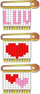 Heart Pattern for Beaded Safety Pins
