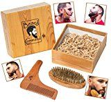 Beard Comb and Brush Set  Beard Trimmer Shaping Tool for Men Beard and Mustache Trimming Grooming Kit Wooden Beard Care Kit Wooden Boar Hair Brush Beard Shaping Tool Trims and Styles Facial Hair