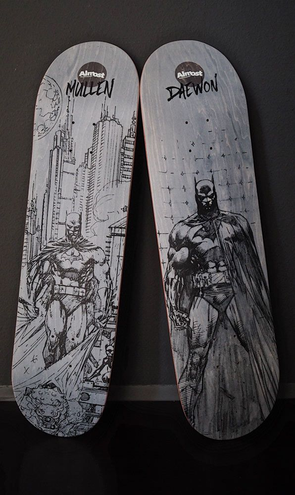 The city needs #Batman - Get the limited run of Almost Skateboards Daewon Song & Rodney Mullen decks now at our shop  #skatedeluxe #sk8dlx #almostskateboards #freshwood #7ply