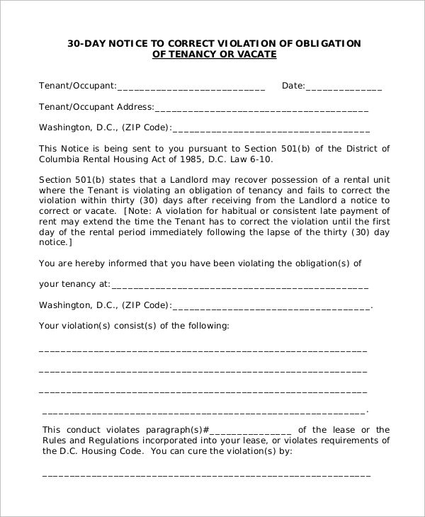 30 Day Notice To Landlord Being A Landlord Job Description Template 30 Day