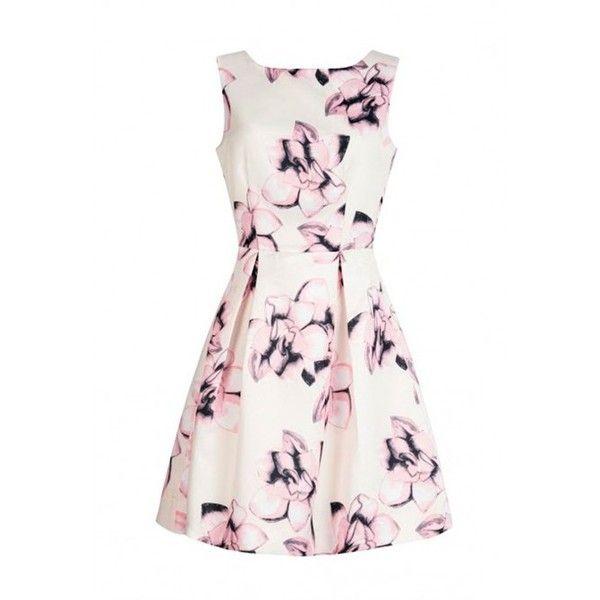 Goddiva Flower Print Skater Dress in Cream ($77) ❤ liked on Polyvore featuring dresses, flower pattern dress, cream skater dress, creme dresses, white day dress and white dresses