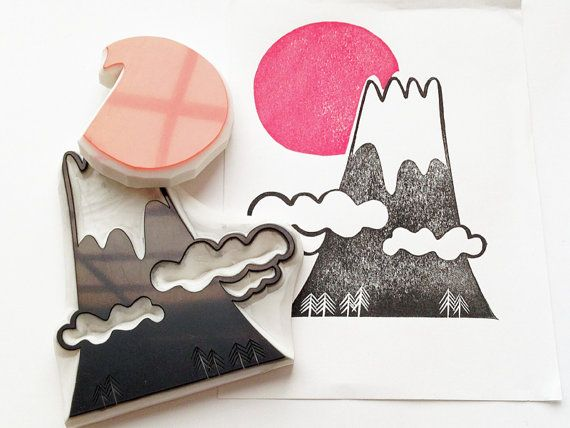 sunrise and mount fuji stamp set. japan hand carved rubber stamps. snowy mountain stamp. new year holiday scrapbooking. set of 2. XL