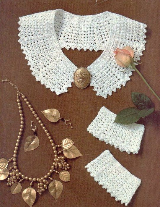 Many crochet collars with charts - I like the cuffs to go with the collar!!