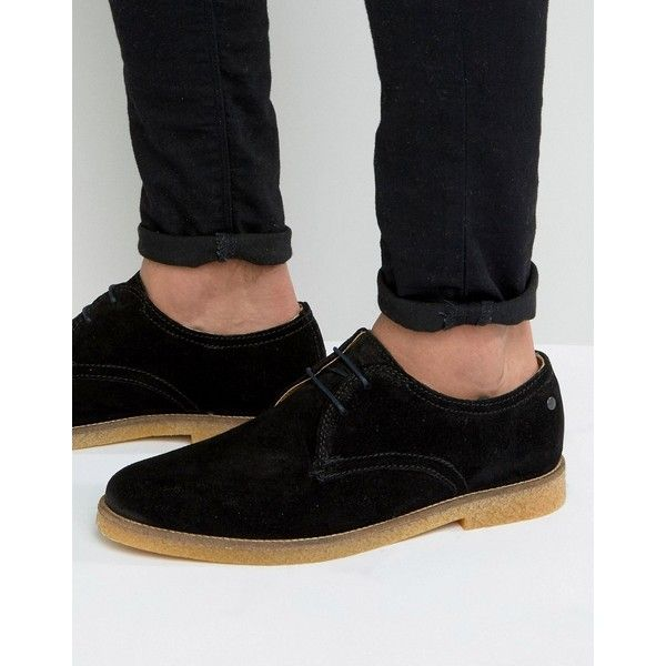 Base London Whitlock Suede Derby Shoes (1.292.295 IDR) ❤ liked on Polyvore featuring men's fashion, men's shoes, black, mens derby shoes, mens lace up shoes, mens black suede shoes, mens suede lace up shoes and mens suede shoes