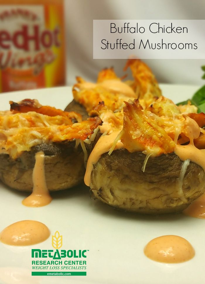 Shredded chicken tossed in greek yogurt and Franks Wings Sauce. Stuffed in mushroom caps. Low Carb. Perfect on your MRC program.
