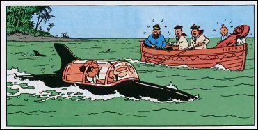 Tintin and Professor Calculus in his shark submarine • Red Rackham's Treasure • Tintin, Herge j'aime