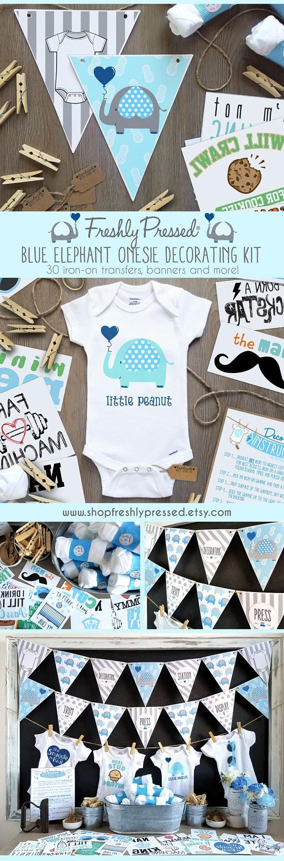 Welcoming a Little Peanut into your family? Entertain your baby shower guests with this darling Blue Elephant themed Onesie® Decorating kit! With 30 iron on transfers and Onesies®, its the perfect entertainment for larger baby showers. Complete with banners, clothes pins, hangtags,