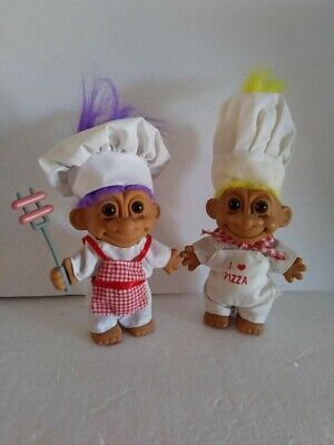 2 RUSS TROLLS HOT DOG COOKING BARBECUE SERVER & PIZZA LOVER. 5″ TALL. ORIGINAL…