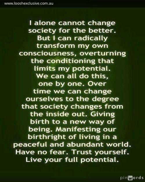 Change you, change the world! X