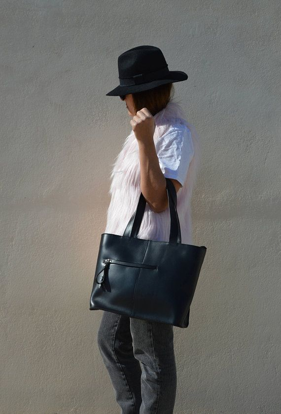 Personalised Leather Tote Bag, Leather Handbag, Shopping Bag, Large Tote, Handmade in Greece by Christina Christi Jewels, LARGE size.