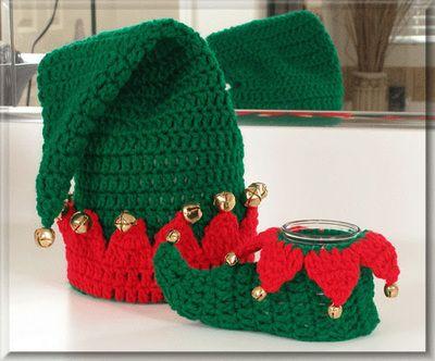 North Pole Elf Bath Set - $6.00 by Cylinda Matthews of Crochet Memories / Elves - 12 Crochet Round Ups of Christmas - Rebeckah's Treasures