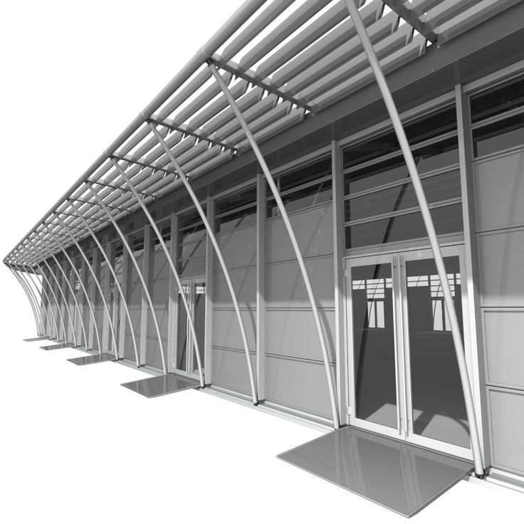 3D Model Exhibition Pavilion C - Framed door Opaque skylight Privacy walls Louvre canopy and Pole columns - 0405050201 | Pavilion Large 3D Models | Flexi3D - 3D Squirrel